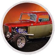 1932 Ford 'three Window' Coupe Round Beach Towel