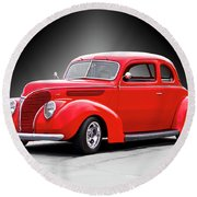1938 Ford Five-window Coupe II Round Beach Towel