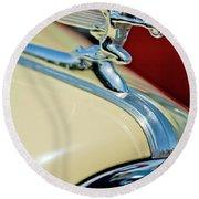 1940 Packard Hood Ornament Round Beach Towel by Jill Reger