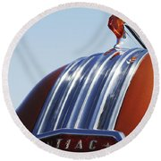 1952 Pontiac Tin Woodie Wagon Hood Ornament Round Beach Towel