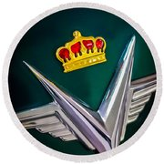 1954 Chrysler Imperial Sedan Hood Ornament Round Beach Towel