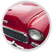 1955 Chevrolet Bel Air Hood Ornament Round Beach Towel
