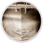 1956 Cadillac Eldorado Biarritz Convertible Hood Ornament - Emblem Round Beach Towel