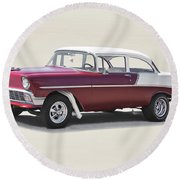 1956 Chevrolet 210 Coupe 'gasser Style' Round Beach Towel