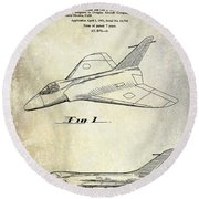 1956 Jet Airplane Patent 2 Blue Round Beach Towel