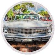 1959 Lincoln Continental Town Car Mk Iv Painted  Round Beach Towel