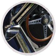 1963 Jaguar Xke Roadster Steering Wheel Round Beach Towel