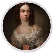 19th Century Russian Artist Portrait Of Countess Aleksandra Vladimirovna Musina-pushkina, 1853 Round Beach Towel