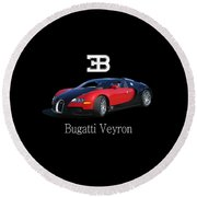 2010 Bugatti Veyron Round Beach Towel