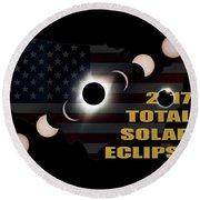 2017 Total Solar Eclipse Across America Round Beach Towel