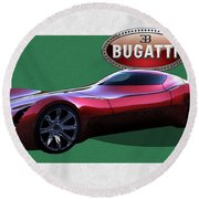 2025 Bugatti Aerolithe Concept With 3 D Badge  Round Beach Towel