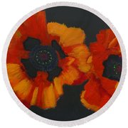 3 Poppies Round Beach Towel