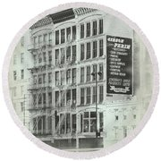 4th St Buildings Round Beach Towel