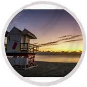 7901- Miami Beach Sunrise  Round Beach Towel