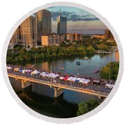 A Beautiful Sunset Falls On The Austin Skyline As Thousands Of Bat Watchers Line The Congress Avenue Bridge During The Annual Bat Fest To Watch The Bats Take Flight Round Beach Towel