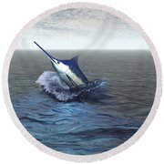 A Blue Marlin Bursts From The Ocean Round Beach Towel