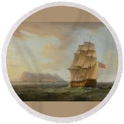 A British Man Of War Before The Rock Of Gibraltar Round Beach Towel