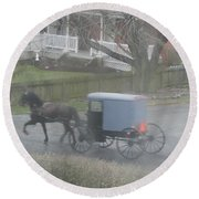 A Buggy Passes By Round Beach Towel