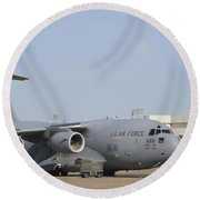 A C-17 Globemaster IIi Parked Round Beach Towel by Stocktrek Images