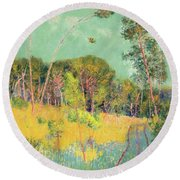 A Clearing In The Forest Round Beach Towel