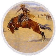 A Cold Morning On The Range Round Beach Towel by Frederic Remington