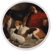 A Couple Of Foxhounds With A Terrier - The Property Of Lord Henry Bentinck  Round Beach Towel