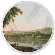 A Distant View Of Rome Across The Tiber Round Beach Towel