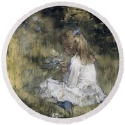 A Girl With Flowers On The Grass Round Beach Towel