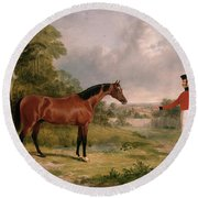 A Horse And A Soldier Round Beach Towel