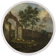 A Landscape With A Ruined Archway Round Beach Towel