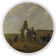 A Landscape With Horseman Herders And Cattle Round Beach Towel