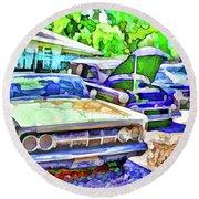 A Line Of Classic Antique Cars 3 Round Beach Towel