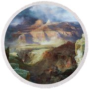 A Miracle Of Nature Round Beach Towel by Thomas Moran