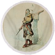 A Moorish Soldier Before A Sunlit Wall Round Beach Towel