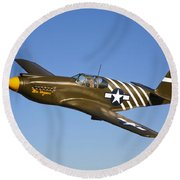 A P-51a Mustang In Flight Round Beach Towel