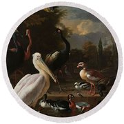 A Pelican And Other Birds Near A Pool, Known As The Floating Feather, Melchior D Hondecoeter, Round Beach Towel