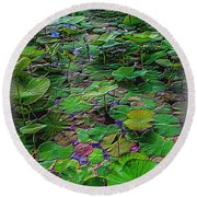 A Pretty Pond Full Of Lily Pads At A Water Temple In Bali. Round Beach Towel
