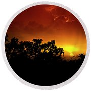 A Red Hot Desert Sunset  Round Beach Towel