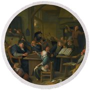 A Riotous Schoolroom With A Snoozing Schoolmaster Round Beach Towel
