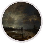 A River Near A Town By Moonlight Round Beach Towel