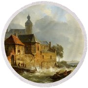 A Rowing Boat In Stormy Seas Near A City Round Beach Towel