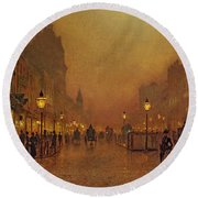 A Street At Night Round Beach Towel by John Atkinson Grimshaw