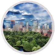 A Summer Day In Boston Round Beach Towel