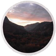 A Sunset View Through A Valley In The Southwest Foothills Of The Sierra Nevadas Round Beach Towel