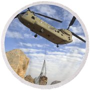A U.s. Army Ch-47 Chinook Helicopter Round Beach Towel