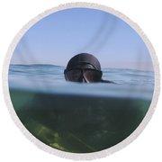 A U.s. Navy Seal Combat Swimmer Round Beach Towel