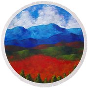 A View Of The Blue Mountains Of The Adirondacks Round Beach Towel