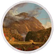 A View Of The Mountain Pass Called The Notch Of The White Mountains, Crawford Notch Round Beach Towel