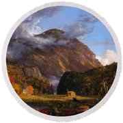 A View Of The Mountain Pass Called The Notch Of The White Mountains Round Beach Towel