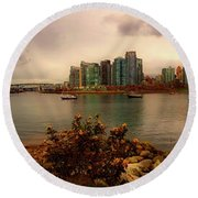 A View Of Vancouver Round Beach Towel